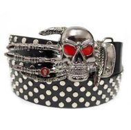 Punk Leather Belt with Skull Heads